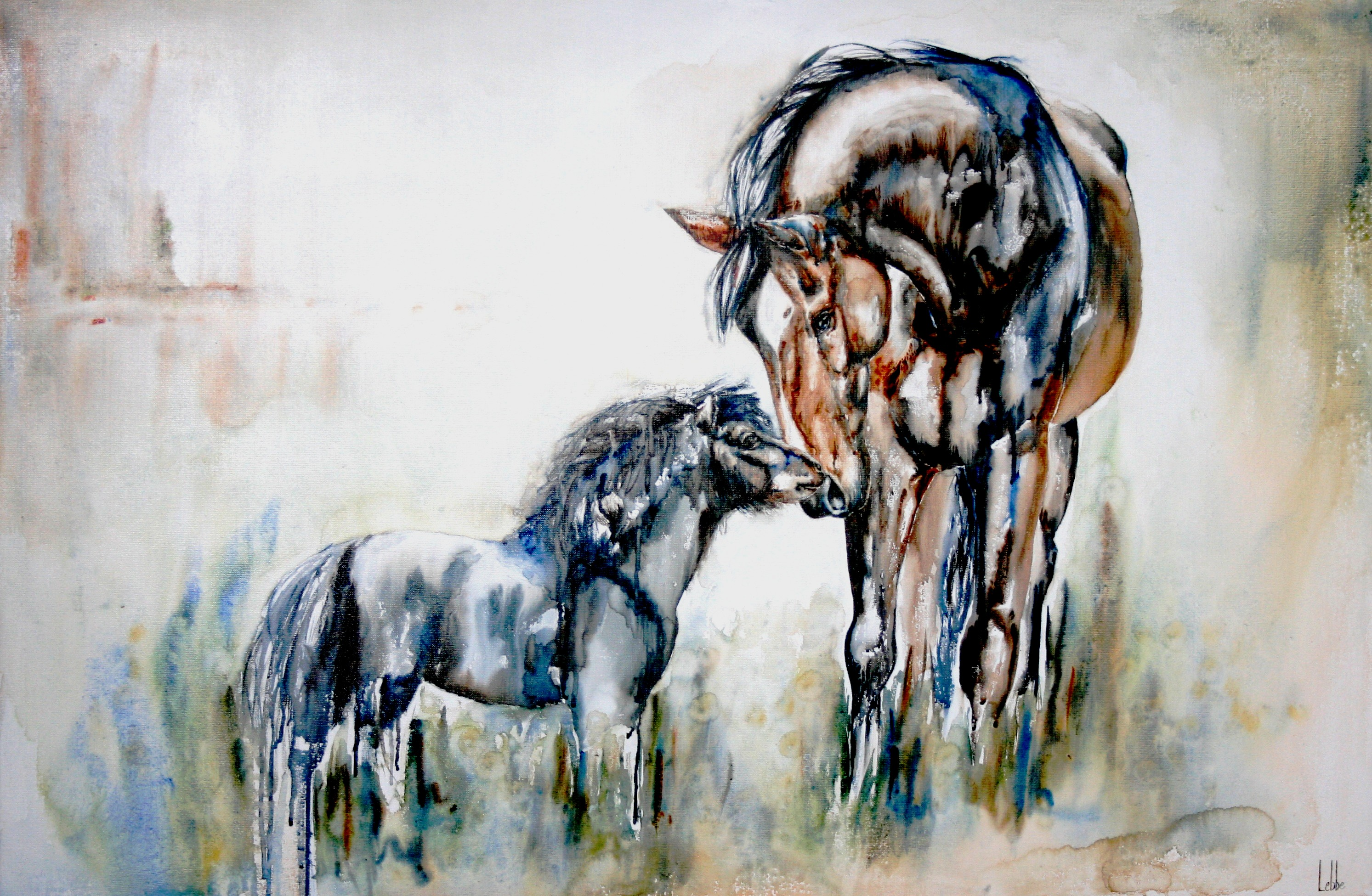 pony horse pasture painting